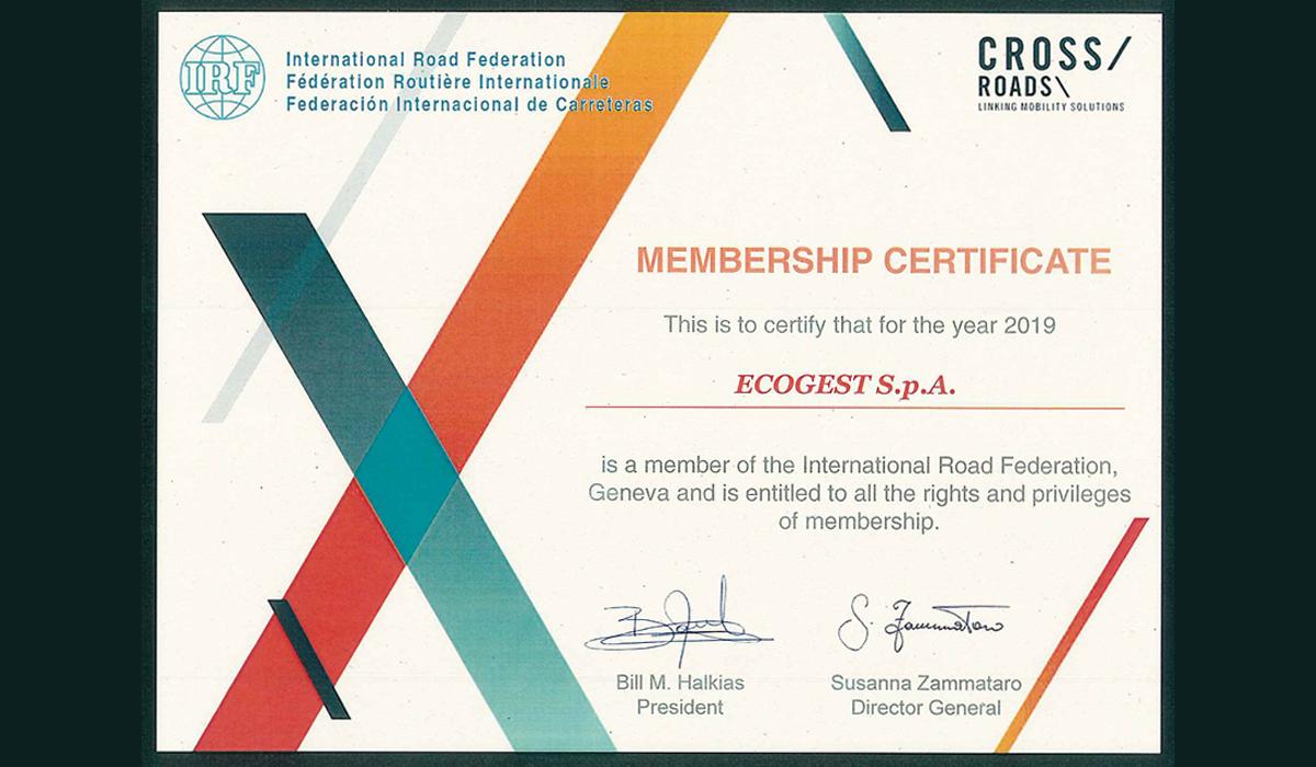 La International Road Federation (IRF) accoglie Ecogest quale membro effettivo della propria organizzazione mondiale