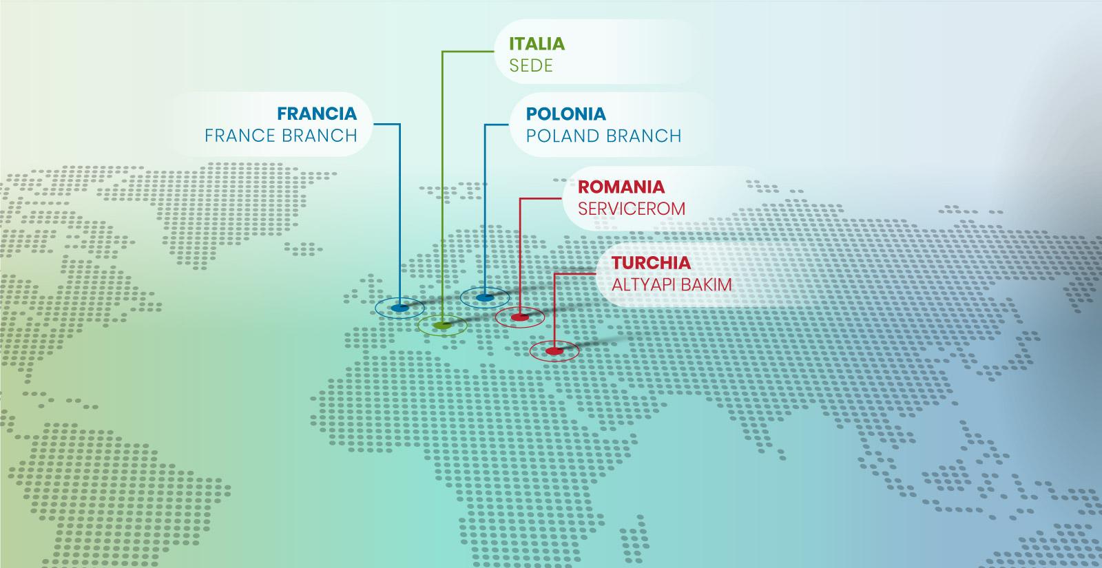 Mappa presenza nel Mondo Ecogest