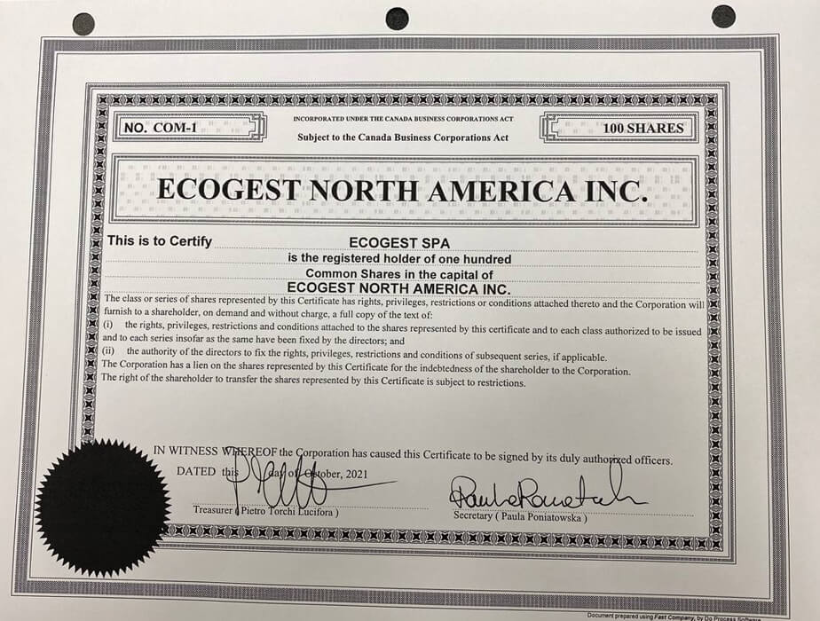 """Ecogest makes its entry in the North American market. """"Ecogest North America inc"""" established today in Toronto"""