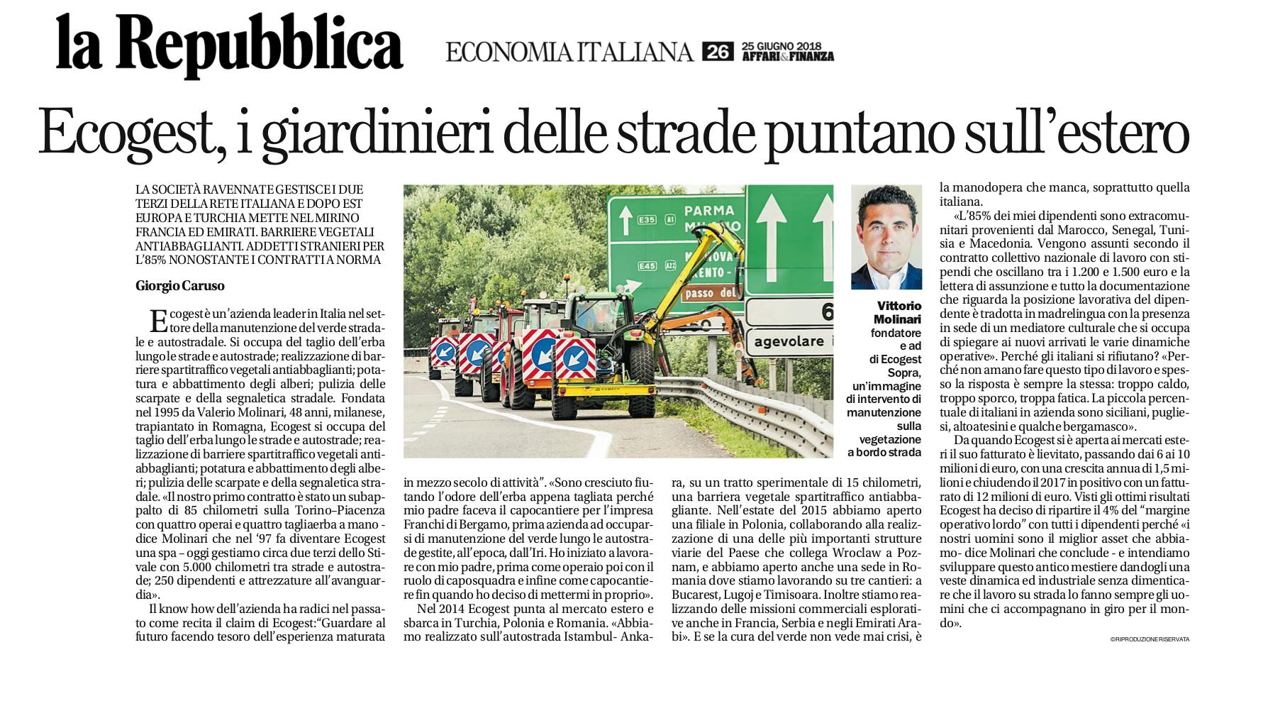 Ecogest e la sua mission sul quotidiano La Repubblica